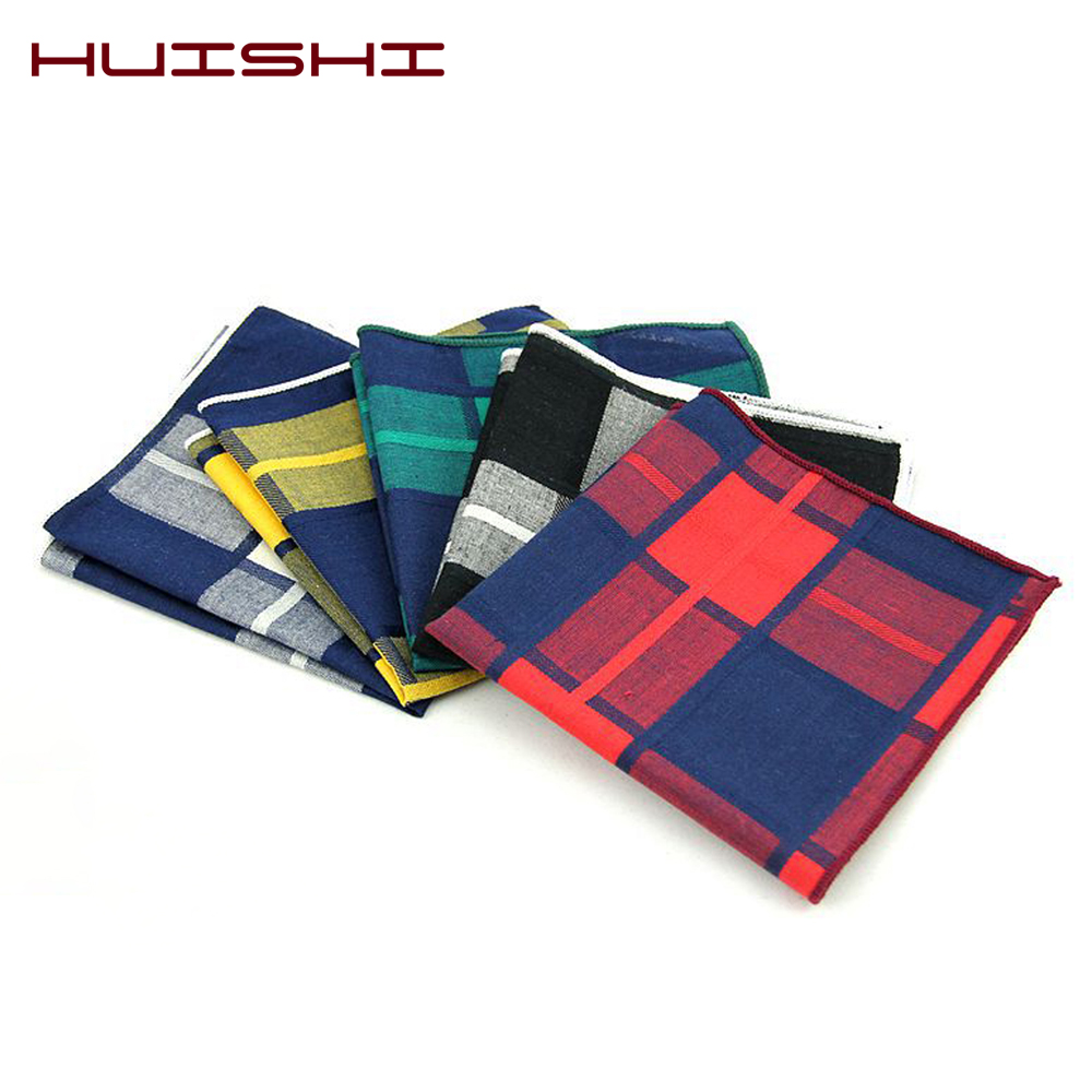 HUISHI Plaid Mens Towel Handkerchiefs Pocket Square Brand Cotton Pocket Square For Mens Suits Striped Handkerchief Wedding Gifts