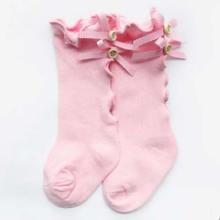 baby girl bow wood ear newborn socks knee high toddler trousers cotton tube girls lace socks boy girl leg warms autum sock-in Socks