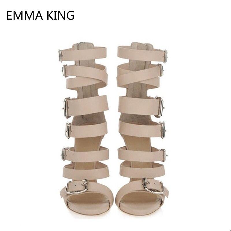 Sandales Boucles Pour Femme Sexy Dames As Sangles Spartiates Chaussures Picture Peep Toe Femelle Hauts Abricot Talons Croisées Zip Blet Mince 5fgq8w