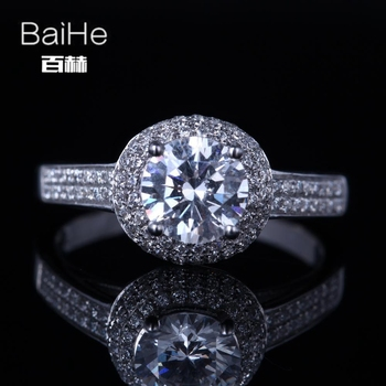 BAIHE sólido 14K oro blanco 6,5mm genuino AAA graduada Zirconia cúbica anillo de compromiso redondo de moda Zirconia cúbica anillo para las mujeres
