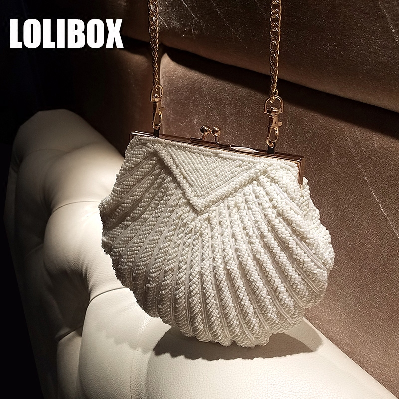 LOLIBOX Women Messenger Bags Ladies Evening Clutch Bags Beaded Clutches Women Party Day Clutches Chain Shoulder Bags women colorful handbags crystal beaded day clutches ladies chain evening bags messenger bags clutch pouch purse wallets for lady