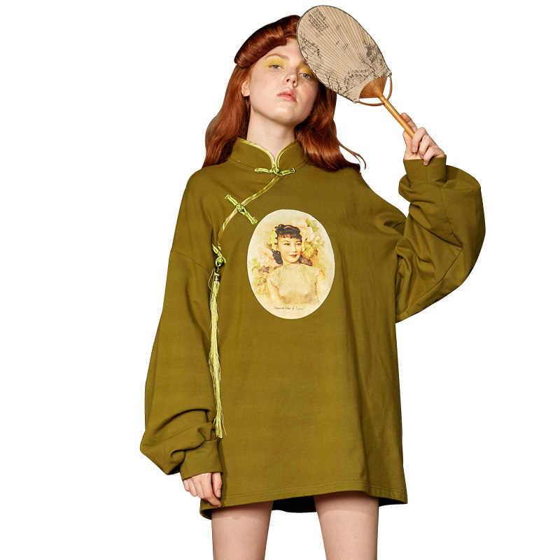 UNIFREE 2019 jesień nowy nabytek bluzy z kapturem damskie retro charakter wzory kołnierz przycisk greeb top luźne streetwear kobiety U192G221HA