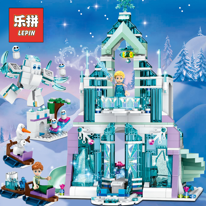 LEPIN Friends 25002 Elsa Anna Ice Castle Palace 01068 Heartlake City Resort 41347 Building Blocks Bricks 41148 Children Toys lepin 25002 731pcs the snow world series the elsa s magical ice castle set building blocks bricks toys girl with gifts 41148