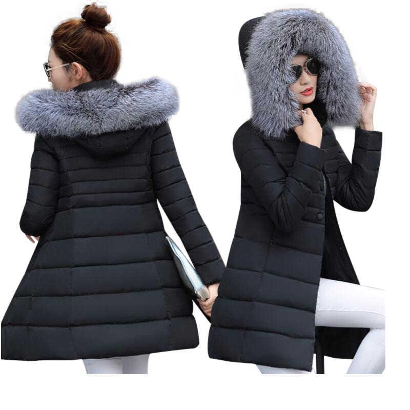 Bayan kışlık ceketler ve mont 2019 Parkas kadınlar için 4 Renk Pamuk Ceketler sıcak Dış Giyim bir Hood Ile Büyük Faux Kürk yaka