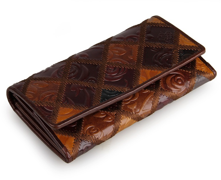 Brand Retro Vintage Women Long Leather Wallet Classic Chinese Style Genuine Leather Clutch Purse  Female Designer Evening Bag gathersun brand handmade 2017 original design genuine leather men wallet vintage style large capacity long purse clutch wallet