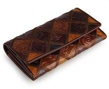 Marke Retro Vintage Frauen Lange Leder Brieftasche Klassische Im Chinesischen Stil Aus Echtem Leder Kupplung Geldbörse Weiblichen Designer Abendtasche