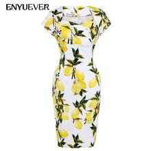 Enyuever Robe Retro Pencil Dress Vestidos Rockabilly Vintage 50s Casual Lemon Dress Bodycon Elegant Plus Size Women Clothing