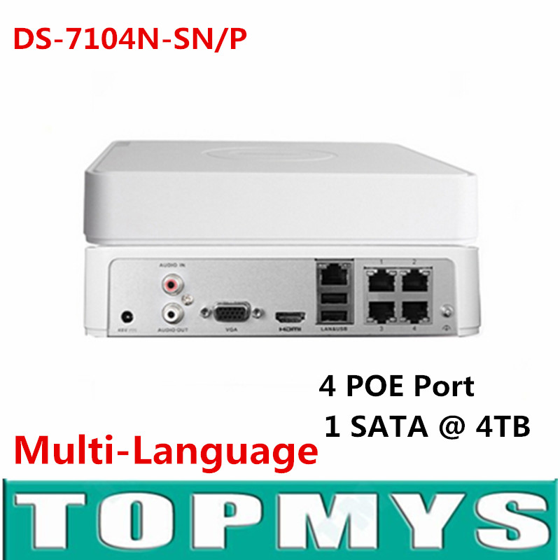 Multi-language CCTV 4CH POE NVR DS-7104N-SN/P for POE IP Camera with 4 Ethernet Ports Support Surveillance Security System hik multi language ds 2cd6412fwd camera ds 2cd6412fwd c2 poe pinhole covert separated network camera for shop home surveillance