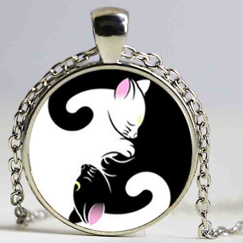 New Glass Dome Necklace Sailor Moon - Luna Artemis Inspired Necklace Yin Yang Jewelry Glass Cabochon Necklace