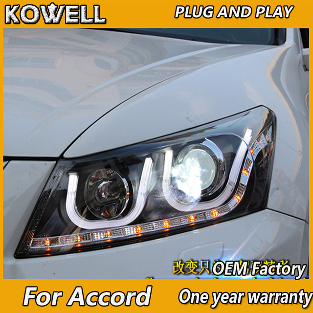 KOWELL Car Styling For Honda Accord Led Headlights 2008 2012 Head Lamp  Double U Angel Eye Led DRL Front Light Bi Xenon Lens Xeno