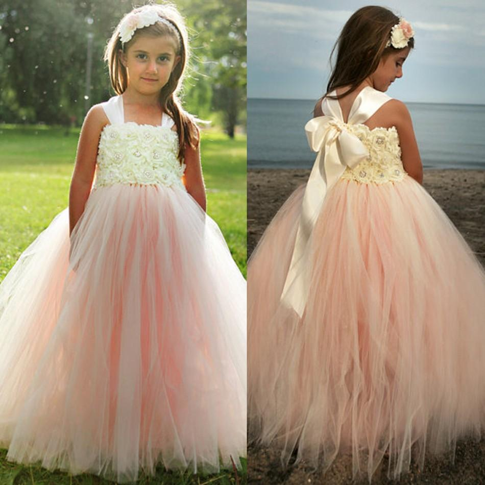 9eaacd68041 Champagne Tulle Ball Gown Girls  Pageant Gowns Halter Lace Flowers Bodice  Bow Flower Girls  Dresses For Wedding Beach Wear AG58