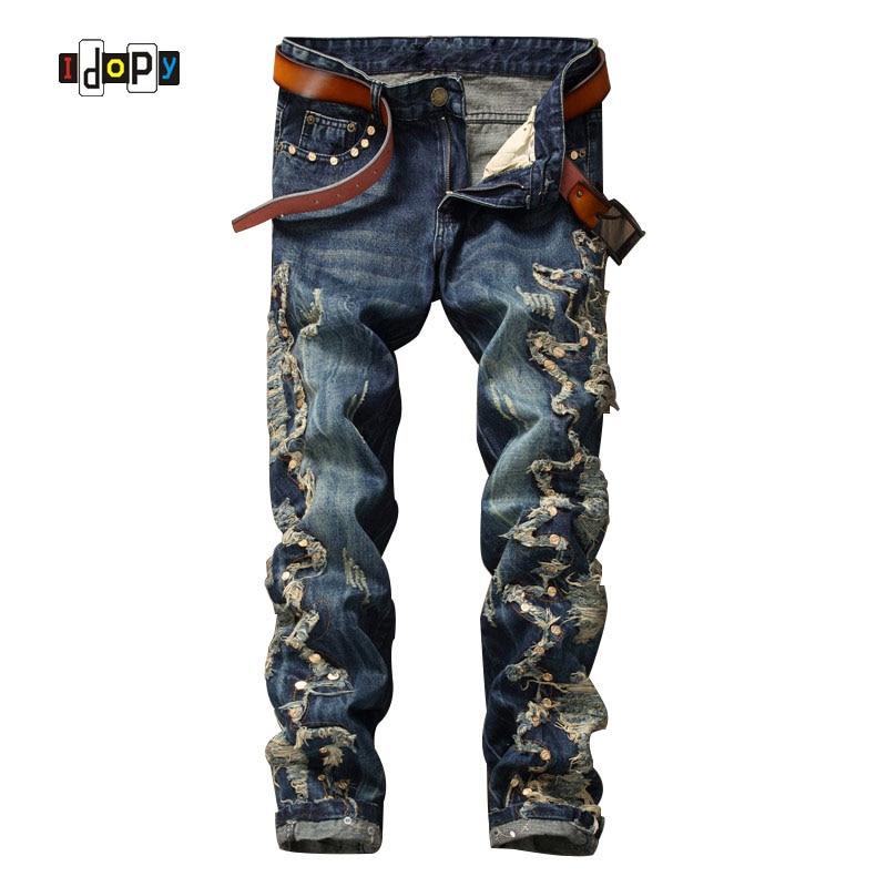 ФОТО Designer Men`s Biker Jeans Patchwork Rips Distressed Personality Vintage Punk Rivets Denim Pants For Cool Male