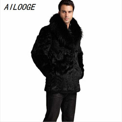 Hot sale winter men fashion fox fur collar faux rabbit fur coats black luxury leather suit.jpg 250x250
