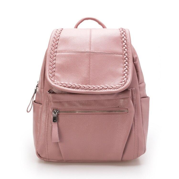 Korea Fashion Preppy Style Backpacks Women Solid PU Leather Backpack for Teenage Girls Designer Travel Rucksack