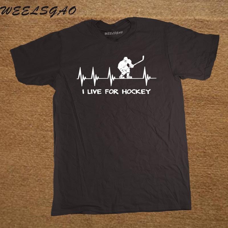 New Casual   Shirt   Short Sleeve Top Hockeyer Gift I Live for Hockeyer Heartbeat Heart Crew Neck   T     Shirt   For Men