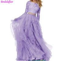 Фиолетовые платья выпускного вечера из 2 частей с длинным рукавом ТРАПЕЦИЕВИДНОЕ ПЛАТЬЕ из тюли для выпускников простое длинное вечернее п
