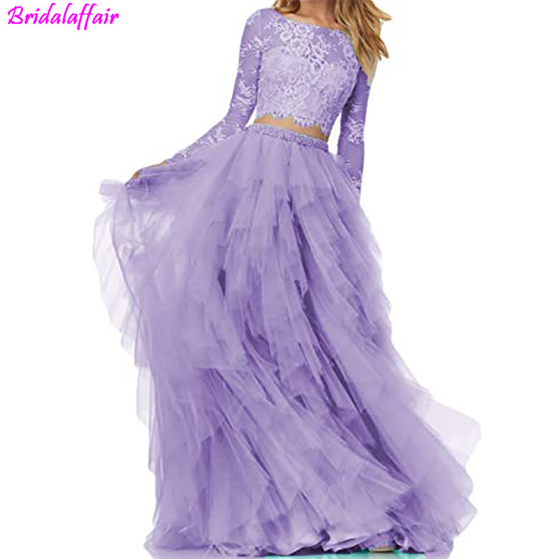 Purple 2 Piece   Prom     Dresses   long Sleeve A Line Tulle Homecoming   Dresses   Simple Long Evening Gowns 2019 Cheap Women Party   Dress