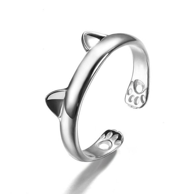 Free Shipping 925 Sterling Silver Lady Rings Cute Cat Animals Party Ring Fashion Jewelry for Women Adjustable Accessories