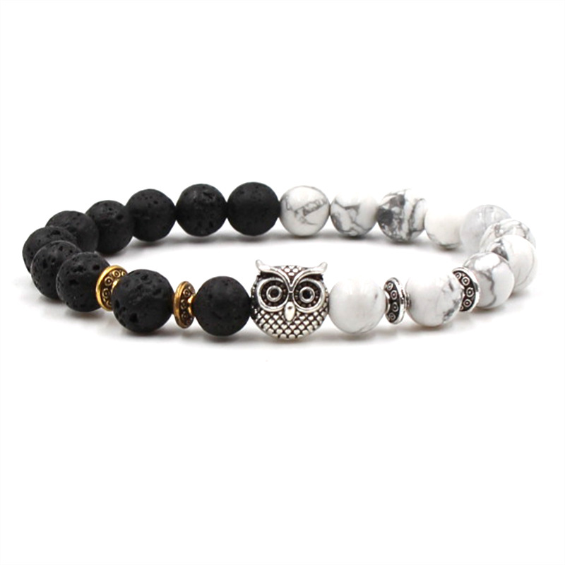 HOBBORN Classic Natural Stone Men Bracelets 8mm Lava White Pine Stone Maix Strand Owl Charm Bracelet For Women Yoga Jewelry Cruz