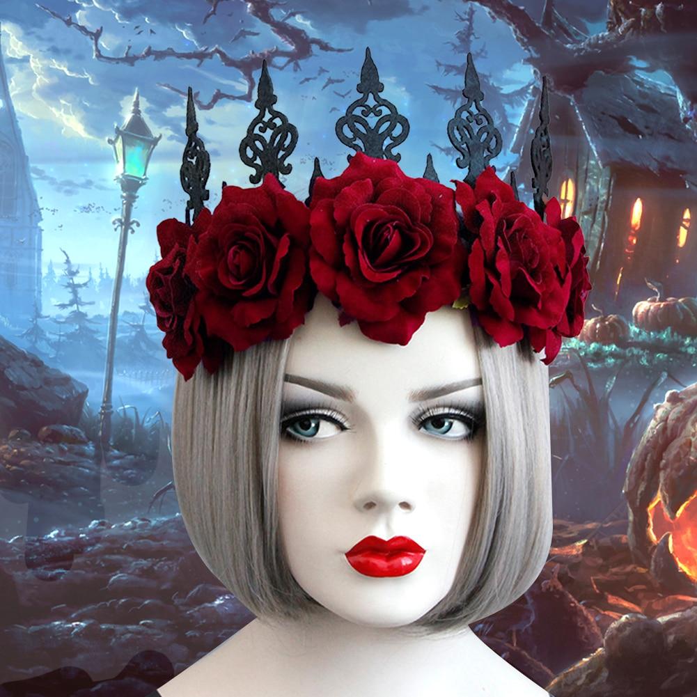 Red Rose Crown Festival Headband Decoration Dance Party Headdress Fashion Retro Halloween Accessories Christmas Ladies Gift