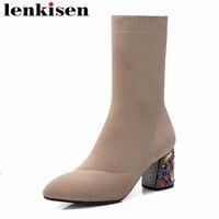 Lenkisen красочные кристаллы с острым носком без шнуровки толстые Обувь на высоком каблуке твердый носок обувь дизайн модные женские вязаные б