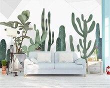 Купить с кэшбэком Beibehang Large photo wallpaper Nordic small fresh hand painted cactus Flower living room Children's room background wall paper