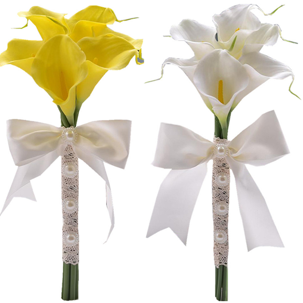Romantic artificial Calla lily white yellow color bridesmaid flower ...