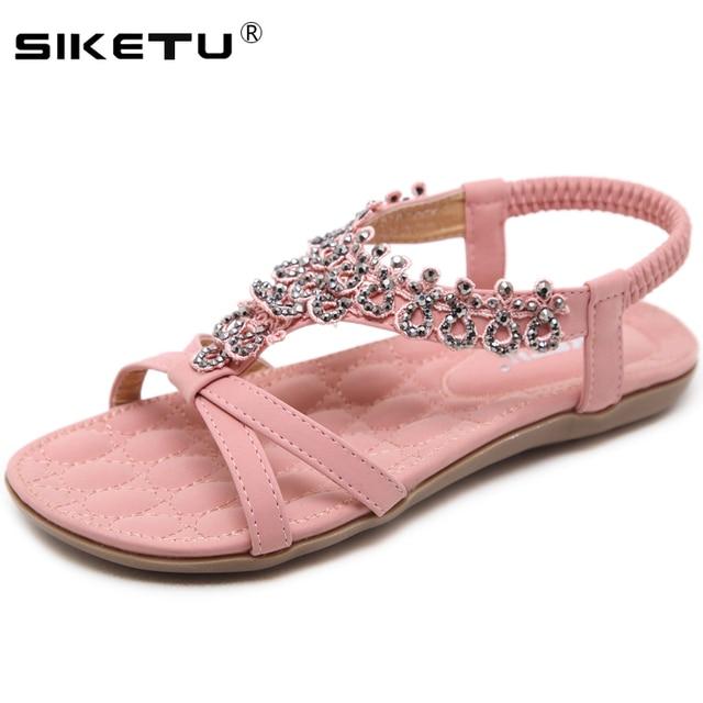 a7e4ddb85 SIKETU 2018 New Summer Ladies Shoes Flower Crystal Flat Sandals Women Big  Size sandalias mujer Bohemia Women Shoes 35-42 WSH2426