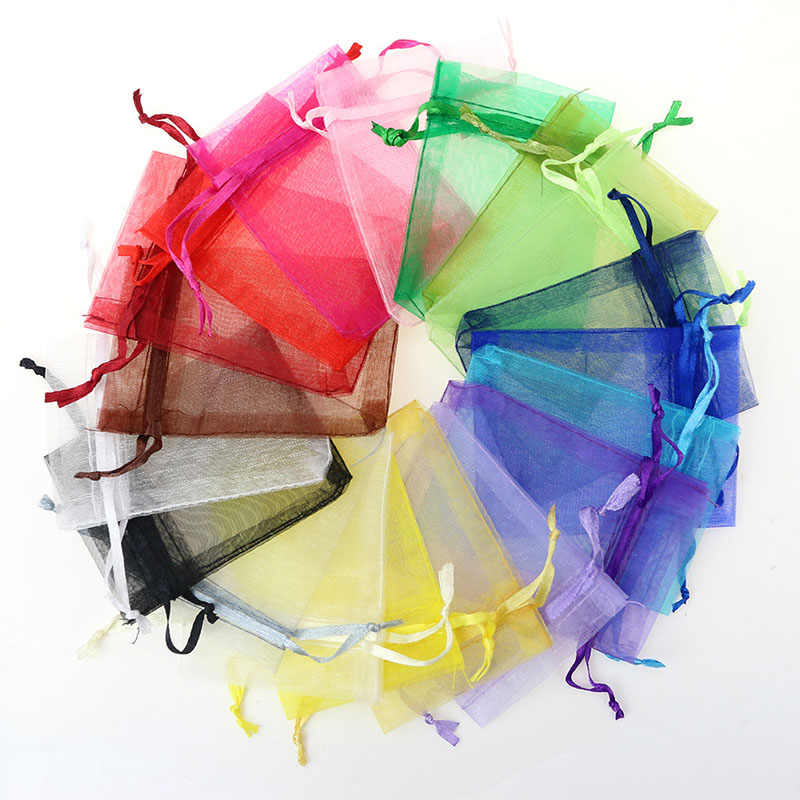 50Pcs Gift Organza Bag Jewelry Packaging Candy Wedding Party Goodie Packing Favors Cake Pouches Drawable Bags Present For Sweets