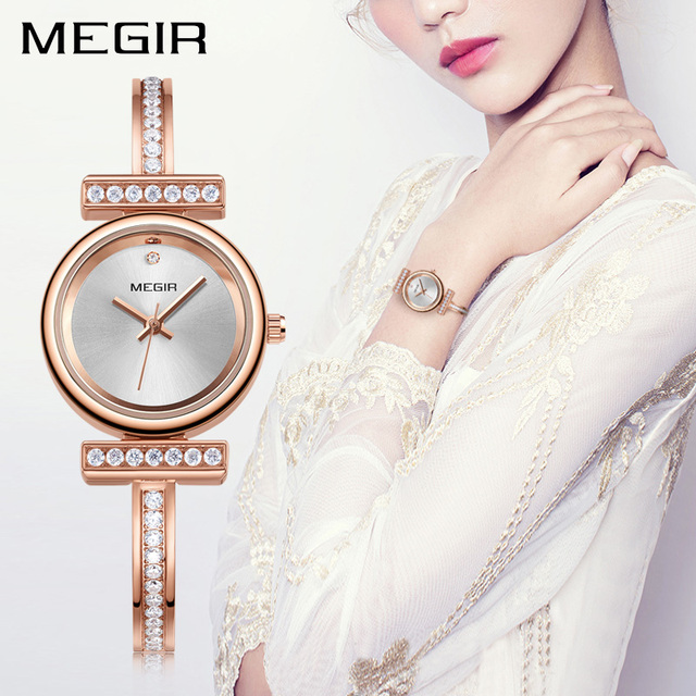 36d3752458b MEGIR Luxo Mulheres Bracelet Watch Relogio feminino Bronze Senhoras Relógios  de Quartzo Relógio para o Amante