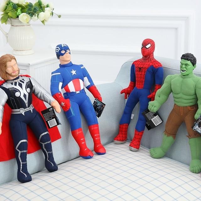 Cozfay Frete Grátis Marvel The Avengers Brinquedos De Pelúcia Spiderman Homem De Ferro Hulk Capitão América Thor Recheado Boneca Brinquedos de Pelúcia