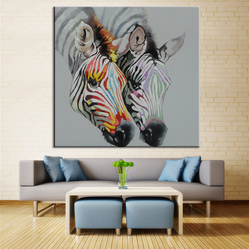 Hand made Abstract Zebra Oil Painting On Canvas Paintings Wall Pictures Horse Animals Painting For Living Room Craft Home Decor