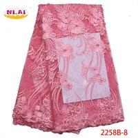 Розовый 2019 Африканский расшитый бисером кружевной тюль ткани высокого высокое качество кружева Материал чистая французский вышивка нигер...