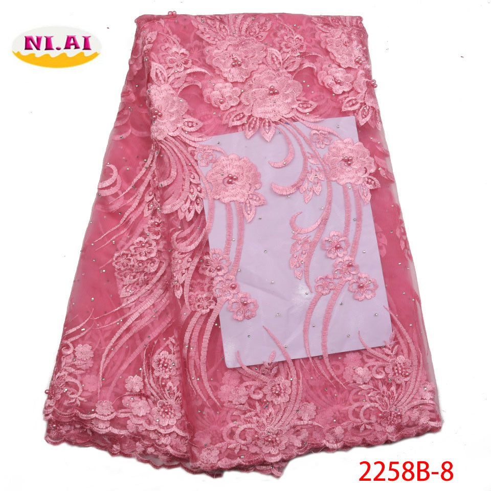 Arts,crafts & Sewing Pink 2019 African Beaded Tulle Lace Fabric High High Quality Lace Material Net French Embroidery Nigeria Lace Fabric
