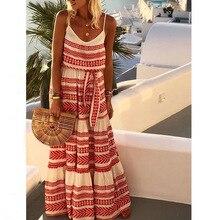 8d9a557c471 Grande taille 5XL été robes Maxi femmes sans manches bohème robe Spaghetti  sangle longue plage vacances