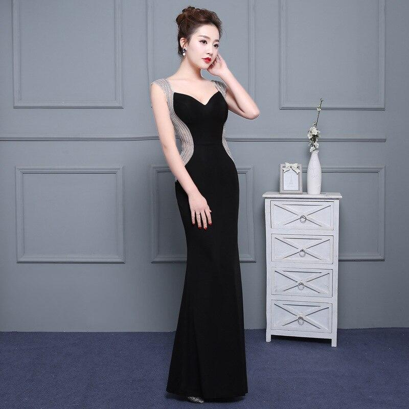 C'est Yiiya sexe noir dos nu Satin col en v fermeture éclair élégant robes de soirée sirène robe de soirée robes de soirée robes formelles LX180 - 3