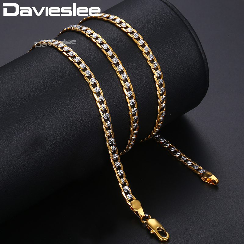 Davieslee Necklace for Men Women Curb Chain Cuban Link Mens Womens Necklace Chains Wholesale Jewelry 4mm 45cm 50cm 55cm DLGN64