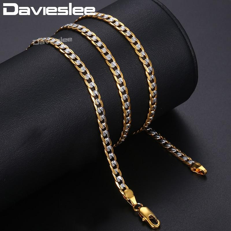 Davieslee Halskette für Männer Frauen Panzerkette Cuban Link Mens Womens Halskette Ketten Großhandel Schmuck 4mm 45cm 50cm 55cm DLGN64