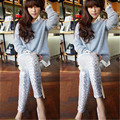 Cotton Women Ladies Sequins Leggings Pants METALLIC Stretch Slim Long Trousers Clubwear