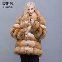 QIUSIDUN The Red Fox Fur Coat Mandarin Collar 75 Cm Coat Winter Warm Fashion Large Size