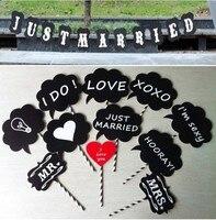 Moda JUST MARRIED Decor MR & MRS Segno decorazione di Nozze Segno di banner wedding bunting Foto Prop con paglie di carta nero