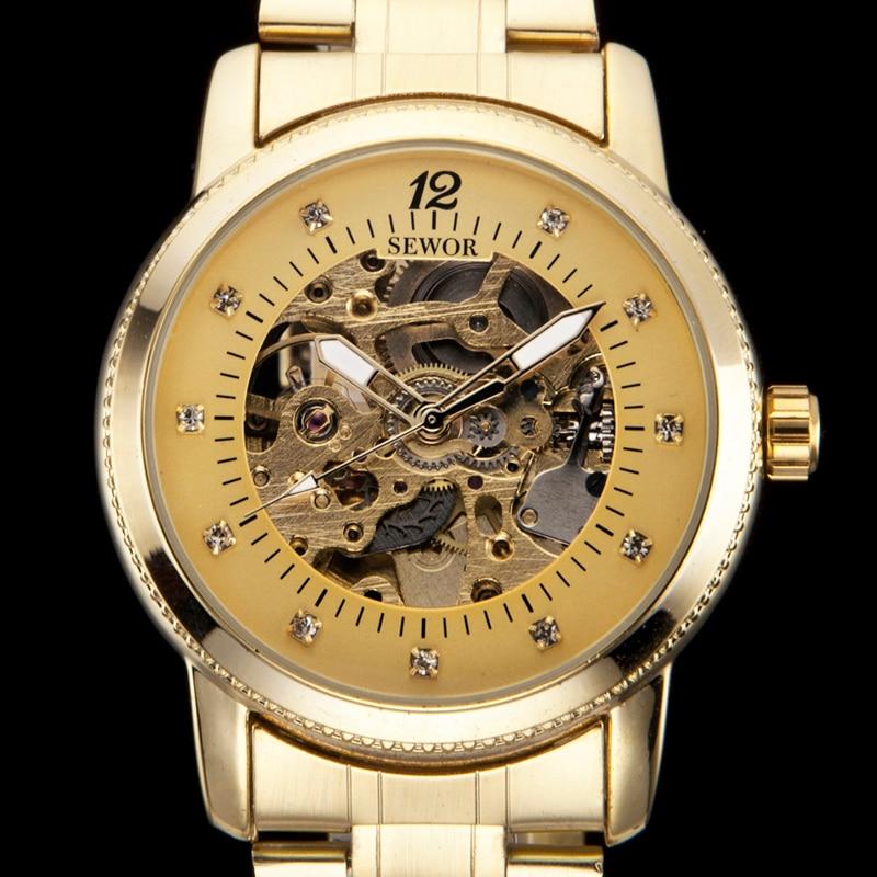 18bfbffc24cce Sewor رجل الأعمال الفاخرة كل الذهب لهجة الماس رجالي الساعات الميكانيكية  تاريخ الرجل هدية التناظرية ووتش