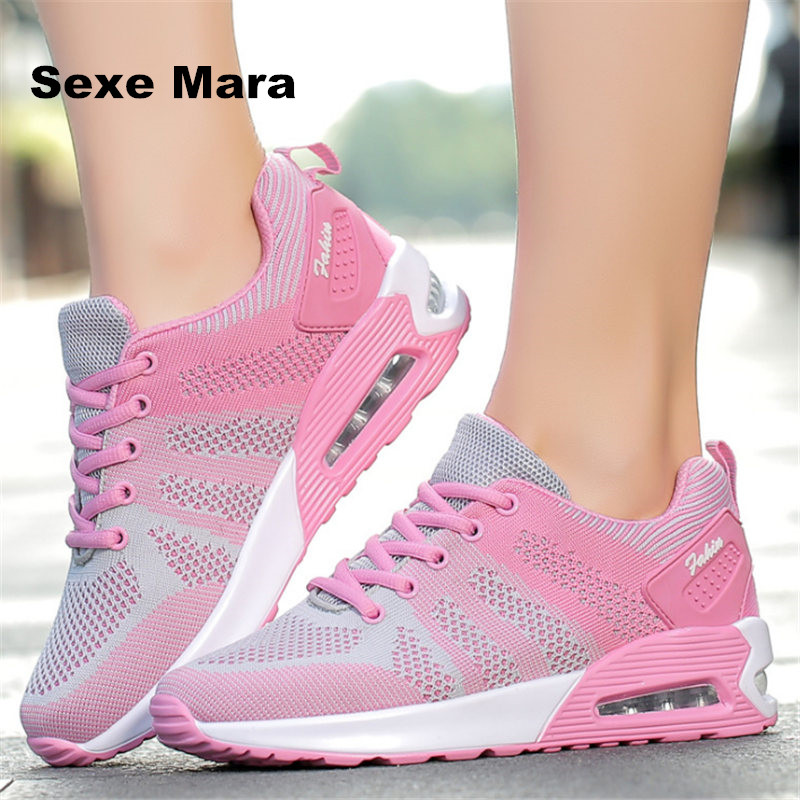 Women flat shoes summer air cushion Casual Fly Weave mesh Breathable Fashion Lace-up Lightweight tenis feminino chaussure femme fashion designer famous brand air mesh glossy men casual shoes summer outdoor breathable durable lace up unisex fashion shoes