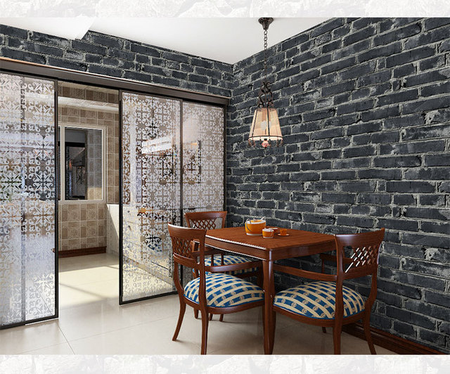 10mx53cm chinese vintage 3d faux brick wallpaper roll pvc vinyl old stone wall paper for restaurant