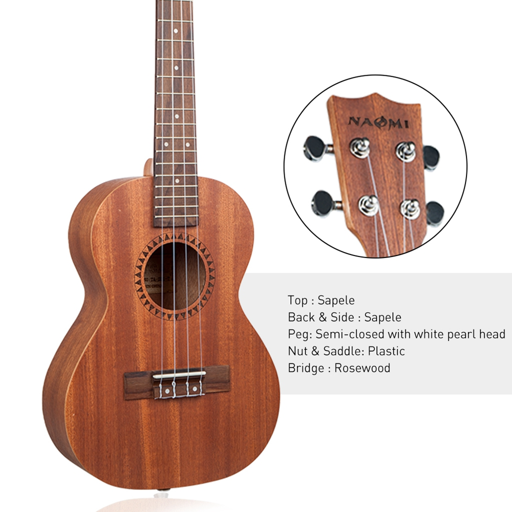 NAOMI cordes Instrument de musique 26 pouces ukulélé Sapele palissandre Nylon jouet guitare Ukeleles pour débutants enfants en bas âge - 3