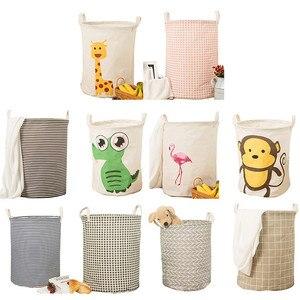 Image 1 - Практичная круглая корзина для хранения белья, Геометрическая корзина, складной ящик для хранения одежды, игрушка, складной держатель, органайзер, серая сетка, 1 шт.