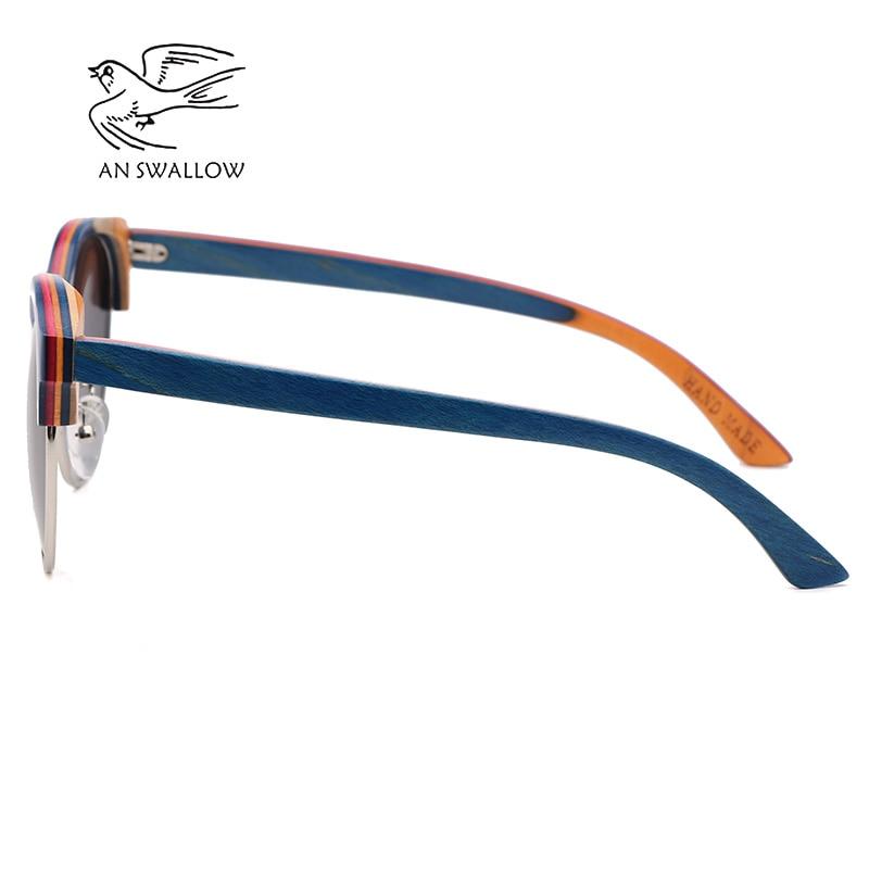 Image 2 - 2019 New Skateboard Wood Polarized Semi frame Sunglasses for Men TAC Lens UV400 Anti retro Ultraviolet SunglassesMens Sunglasses   -