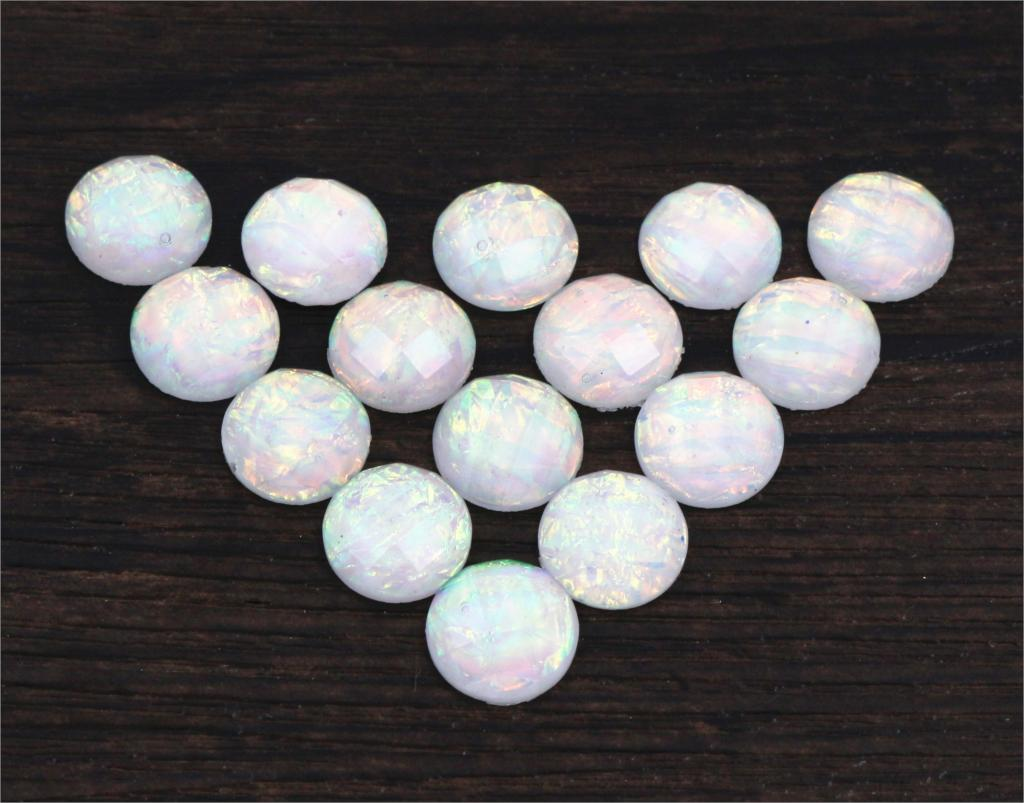 New Fashion 40pcs 12mm White Color Tangent Plane Built-in Metal Foil Flat Back Resin Cabochons Cameo  Z5-16