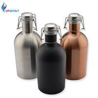 Upspirit 64OZ Stainless Steel Homebrew Beer Growler Craft Beer Bottle Saver Flip Cap Large Capacity Flask