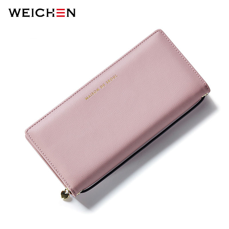 WEICHEN New Design Handle Long Clutch Wallets For Women,Solid Coin Purses Card Holders Female PU Leather Money Wallets Bags 2017 new designer wallets women brand leather fashion long red coin purses female clutch phone wallets money bags card holders